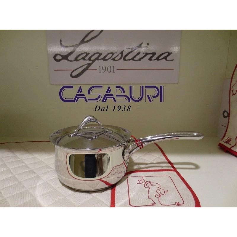 Lagostina Melodia Casseruola fonda a manico lungo con coperchio 16 cm