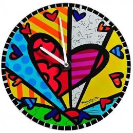 Romero Britto Orologio da parete in vetro rotondo Heart 334177