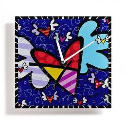Romero Britto Orologio da parete in vetro quadrato Flying Heart 334178