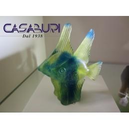 Daum Crystal Coppia di Pesci Blu-Giallo 9,5 cm 02656-1