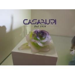 Daum Crystal Roses Fiore in Cristallo 10,5 cm Rosa e Viola 02767-2