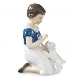 Royal Copenhagen Statuina Bimba con Cucciolo 1021477