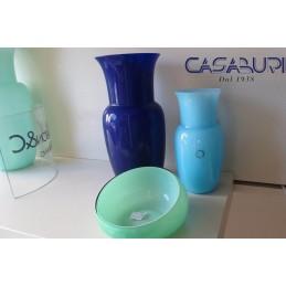 Nason Set Vaso Blu-Vaso Acquamare-Svuotatasche Vetro di Murano