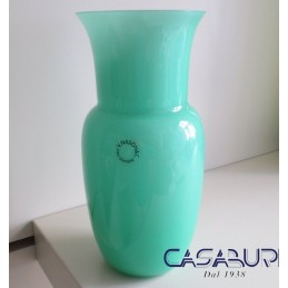 Nason Vaso Opalino Verde in Vetro di Murano H 19 cm