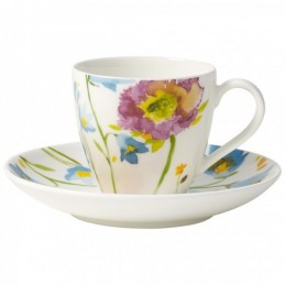 Villeroy & Boch Anmut Flowers Espresso Cup and Saucer Set 6 Pcs