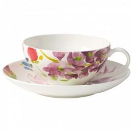 Villeroy & Boch Anmut Flowers Set 6 Tazze Tè con Piattino