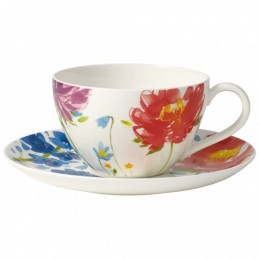 Villeroy & Boch Anmut Flowers Breakfast Cup and Saucer Set 6 Pcs