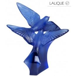 Lalique Hirondelles Scultura Grande Rondini Blu Zaffiro 10625300