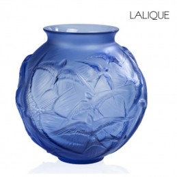 Lalique Hirondelles Vaso Medio Blu Zaffiro Rif. 10624200