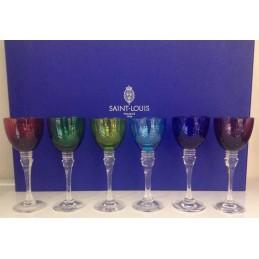 Saint Louis Crystal Grand Lieu Roemer Glasses Coloured 6 Pcs