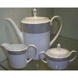 Wedgwood Vera Wang Gilded Weave Set Coffee Pot-Sugar Bowl-Creamer