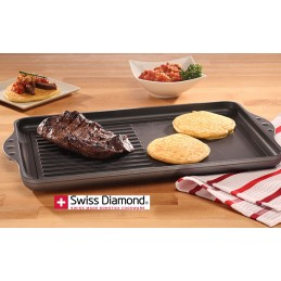 Swiss Diamond Non Stick Double-Burner Grill-Griddle Combo