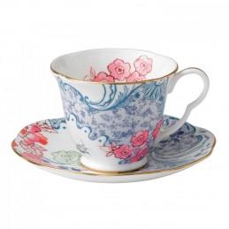 Wedgwood Butterfly Bloom Tazza Tè Blue e Rosa con Piattino