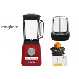 Magimix Power Blender Red with Citrus Press and Mill Attachment