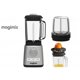 Magimix Power Blender Chrome with Citrus Press and Mill Attachment