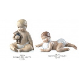 Royal Copenhagen Figurines Baby Boy with Bib and Teddy 10 Pcs