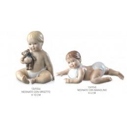 Royal Copenhagen Statuine Neonato con Bavaglino e Orsetto 10 Pz