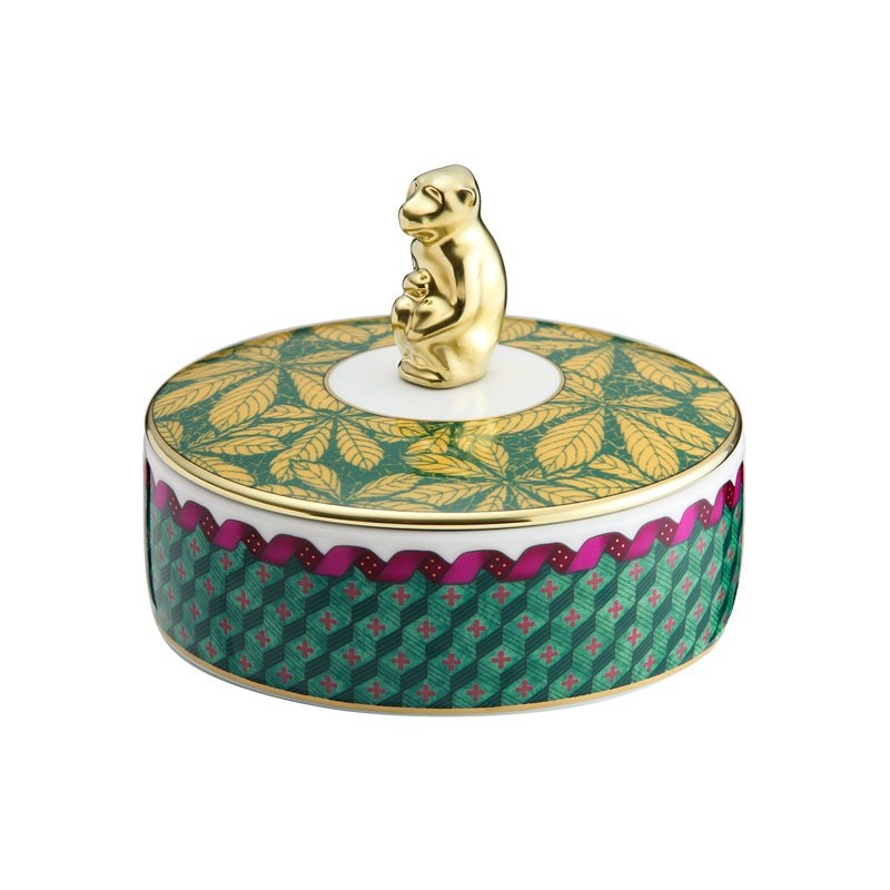Richard Ginori Totem Monkey Round Box with Cover and Knob