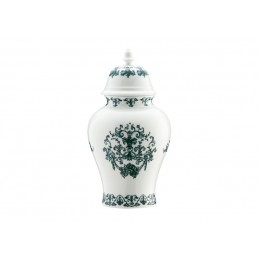 Richard Ginori Babele Verde Potiche Vase H. 31 cm-12 1/ 2 In with Cover
