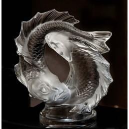 Lalique Doppio Pesce Scultura Piccola Cristallo Ref. 1162200