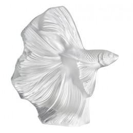Lalique Fighting Fish Small Sculpture Clear Crystal Ref. 10672400
