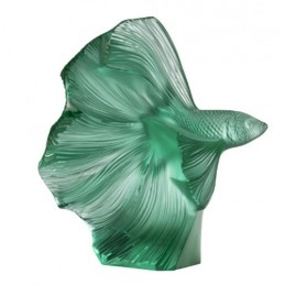 Lalique Fighting Fish Small Sculpture Mint Green Ref. 10672600