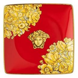 Versace Rosenthal Medusa Rhapsody Red Bowl 12 cm Square Flat