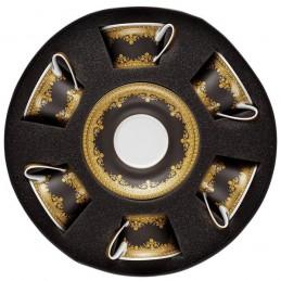 Versace Rosenthal I Love Baroque Black Set 6 Tea Cups & Saucer