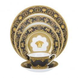 Versace Rosenthal I Love Baroque Black Dinnerware Set 5 Pcs