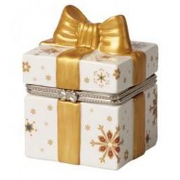 Villeroy & Boch Christmas Toy's Pacchetto Regalo Rettangolare Oro / Bianco