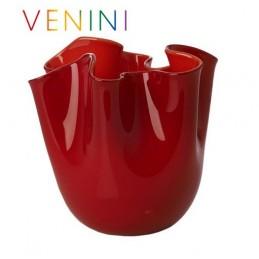 Venini Fazzoletto Opalino Vase, Small, Red H 13 , 5 cm
