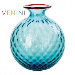 Venini Monofiori Balloton Vase Large Light Blue Red Thread H 20. 5 cm