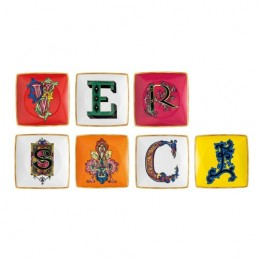 Versace Rosenthal Holiday Alphabet Set 7 Bowl 12 cm Square Flat