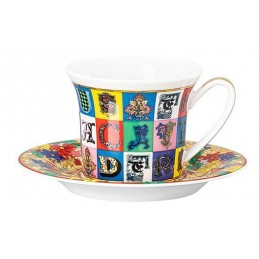 Versace Rosenthal Holiday Alphabet Espresso Cup & Saucer 0. 10 l