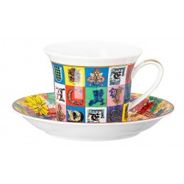 Versace Rosenthal Holiday Alphabet Cappuccino Cup & Saucer 0. 25l