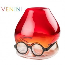 "Venini ""Where are my Glasses?"" Vase , Under Red ø 26 cm Murano Glass"
