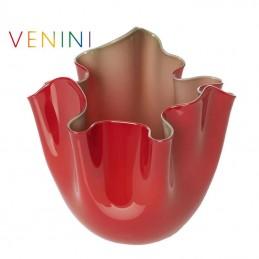 Venini Vaso Fazzoletto Opalino Bicolore Rosso / Verde Mela 700. 02