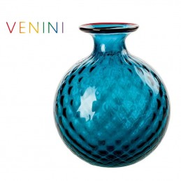 Venini Monofiori Balloton Vase Small Aquamarine / Red Thread H 16.5 cm