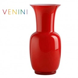 Venini Opalino Vase Medium Red H 36 cm Murano Glass