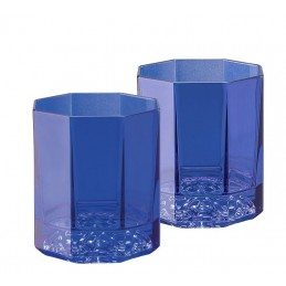 Versace Rosenthal Medusa Lumiere Blue Set of Two Whisky Glass