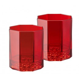 Versace Rosenthal Medusa Lumiere Red Set of Two Whisky Glass