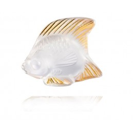 Lalique Fish Sculpture Clear and Gold Crystal Ref. 10685100
