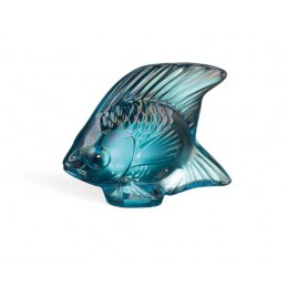 Lalique Fish Sculpture Turquoise Luster Crystal Ref. 10205600