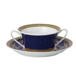 Versace Rosenthal Medusa Blue Creamsoup Cup and Saucer