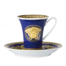 Versace Rosenthal Medusa Blue Espresso Cup and Saucer