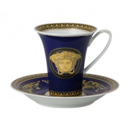 Versace Rosenthal Medusa Blue Coffee Cup and Saucer 0, 18 l
