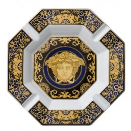 Versace Rosenthal Medusa Blue Ashtray 24 cm