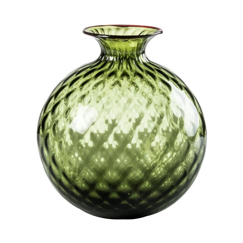 Venini Monofiori Balloton Vase Apple Green / Red Thread 100. 18