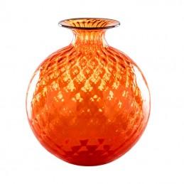 Venini Monofiori Balloton Vase Orange / Indigo Thread 100. 18