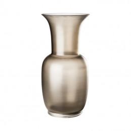 Venini Opalino Satin Vase Taupe / Crystal H. 30 cm Murano Glass 706.38